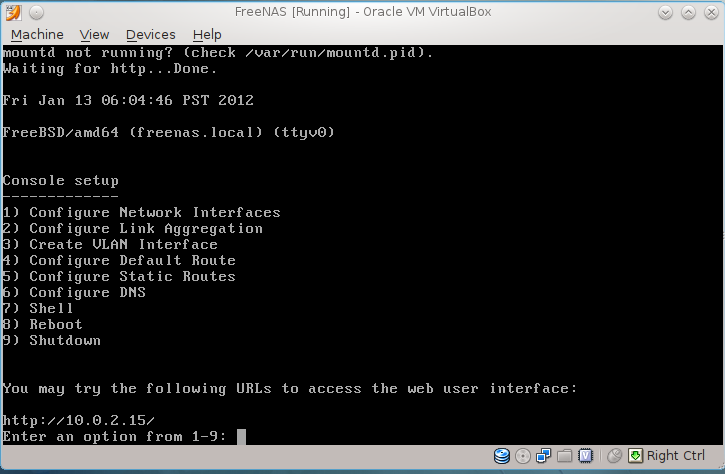 Installing FreeNAS 0 8 on Oracle VirtualBox 4 1 | Life of a