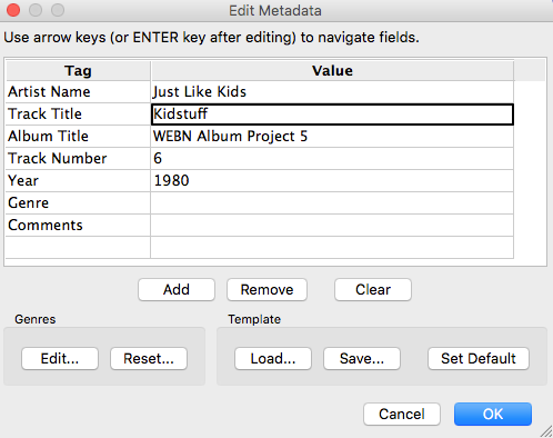 how to put metadata on wav